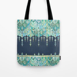Art Deco Double Drop in Blues and Greens Tote Bag