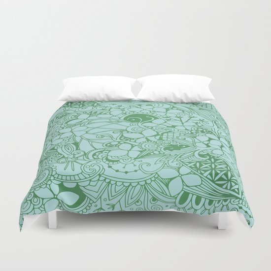Blue square, green floral doodle, zentangle inspired art pattern Duvet Cover