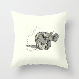 Silver Arowana Throw Pillow