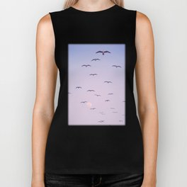 Seagulls & Moon by Murray Bolesta Biker Tank