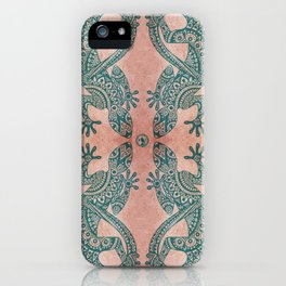 Bohemian tribal lizard pattern in teal and terracotta tones iPhone Case
