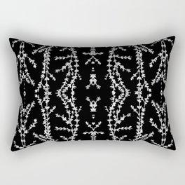 Vines Kaleidoscope (white on black) Rectangular Pillow