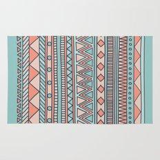 Tribal #4 (Coral/Aqua) Rug