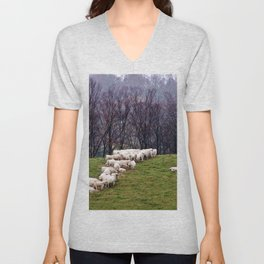 Cattle Eating Hay on a Hill Unisex V-Neck