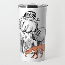 Fantastic forest with mushrooms, snail, rabbit and fox Travel Mug