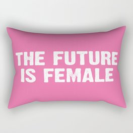 The Future Is Female - Pink and White Rectangular Pillow