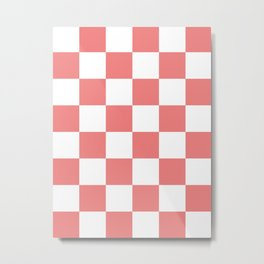 Large Checkered - White and Coral Pink Metal Print