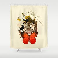 tiger Shower Curtains featuring tiger by mark ashkenazi