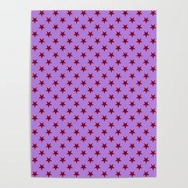 Burgundy Red on Lavender Violet Stars Poster