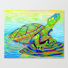 Colorful Psychedelic Neon Painted Turtle Rainbow Turtle Canvas Print