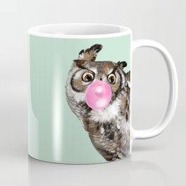 Sneaky Owl Blowing Bubble Gum Coffee Mug