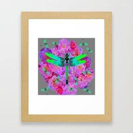 EMERALD DRAGONFLIES PINK ROSES GREY COLOR Framed Art Print