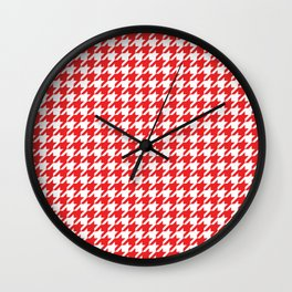 Red Houndstooth Pattern Design Wall Clock