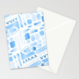 Watercolor Pattern Play in Blue Stationery Cards
