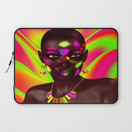 African Woman and Colorful Abstract Laptop Sleeve
