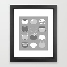 Old School Minimalist Movie Monsters Framed Art Print