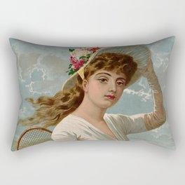 Vintage Victorian tennis girl Rectangular Pillow