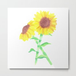 A watercolor sunflower bouquet Metal Print