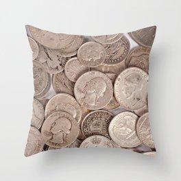 Silver Coins Collection Throw Pillow