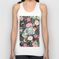 preppy Tank Tops featuring Pastel preppy flowers Hello typography chalkboard by Girly Trend