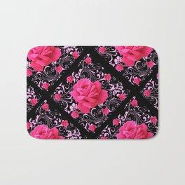 FUCHSIA PINK ROSE BLACK BROCADE GARDEN ART Bath Mat