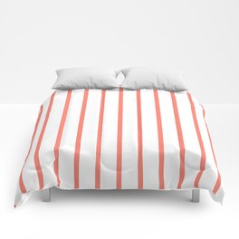 Vertical Lines (Salmon/White) Comforters