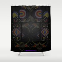 tron Shower Curtains featuring Mandalic Altar by Aaron Carberry
