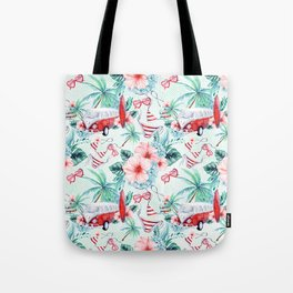 Retro 60s Bus, Surfboard, Bikini, Palm Trees, Beach Scene Tote Bag