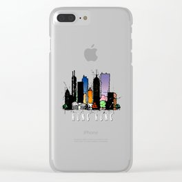 Hong Kong City Watercolor Clear iPhone Case