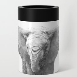 Black and White Baby Elephant Can Cooler