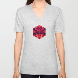 Abstract  geometric triangle texture pattern design in diabolic future red Unisex V-Neck