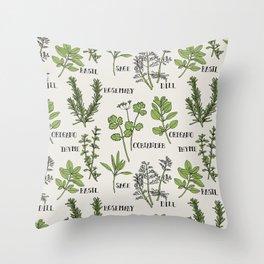 Herb and Seasoning Throw Pillow