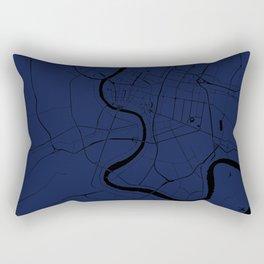 Bangkok Thailand Minimal Street Map - Navy Blue and Black Rectangular Pillow