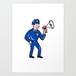 Policeman Shouting Bullhorn Isolated Cartoon Art Print