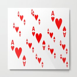 LOTS OF DECORATIVE  RED  ACES & HEARTS PLAYING CARDS CASINO ART Metal Print
