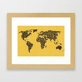 Yellow world map Framed Art Print