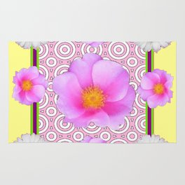 Modern Art Style Shasta Daisy Pink Roses  Yellow color Abstract art Rug