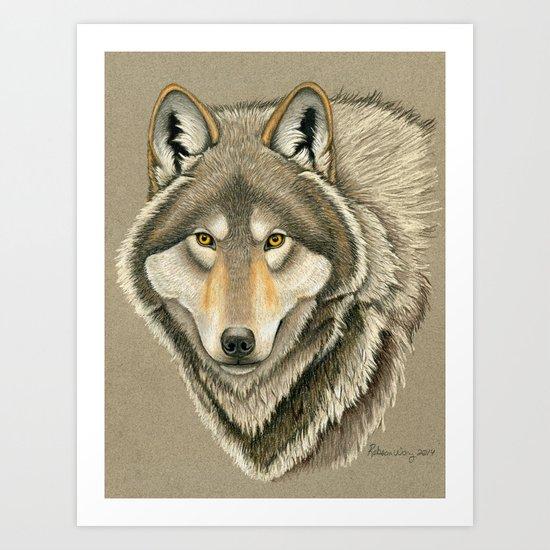 Grey Wolf Portrait Art Print