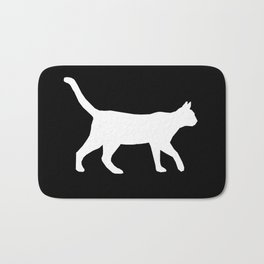 Cat silhouette cat lady cat lover black and white square minimal modern pet silhouette pattern Bath Mat