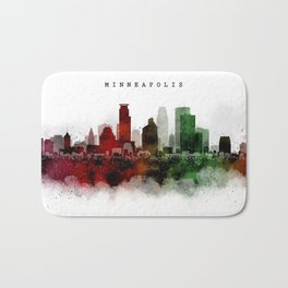 Minneapolis Watercolor Skyline Bath Mat