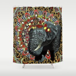 Elephant Red and Gold Indian Yoga Mandala Shower Curtain