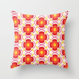 Retro happy bright floral 2 Throw Pillow