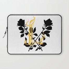 Locust Tattoo roses and L monogram by Sarah de Azevedo Laptop Sleeve