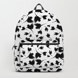 Monochrome pattern with imitation feathers. The texture of fabric from the shadows of birds. Backpack