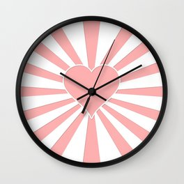 Pink Coral Valentine Love Heart Explosion Wall Clock
