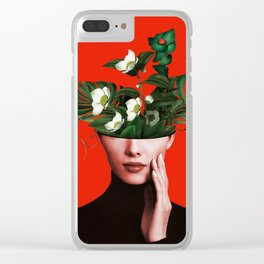 Lady Flowers Xl Clear iPhone Case