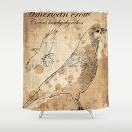 Vintage American Crow Poster Shower Curtain