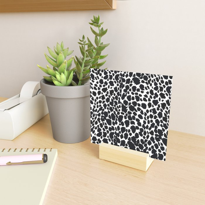 Animal Print Cheetah Black and White Pattern #4 Mini Art Print