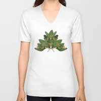 tropical V-neck T-shirts featuring tropical floral by Laura Graves