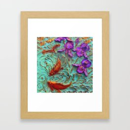 DIMENSIONAL PURPLE IRIS FLOWERS & GOLDEN KOI FISH Framed Art Print